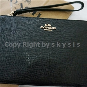 New COACH LARGE WRISTLET IN CROSSGRAIN LEATHER แท้100% BLACK